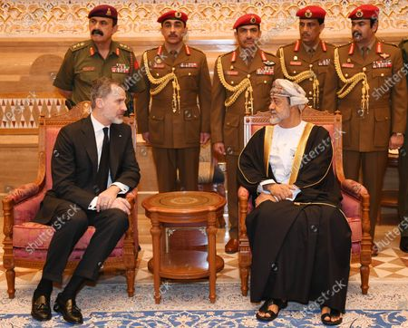 King Felip VI of Spain (R) offers condolences to His Majesty Sultan Haitham(L) on the death of the late Sultan Qaboos Muscat, in Muscat, Oman, 14 January 2020. Sultan Qaboos bin Said, who ruled Oman for 50 years, has died at the age of 79 on 10 January 2020. Haitham bin Tariq Al Said, cousin of the late Sultan, was appointed new ruler on 11 January 2020.