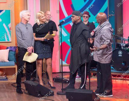 Phillip Schofield and Holly Willoughby with The Real Thing - Chris Amoo and Dave Smith