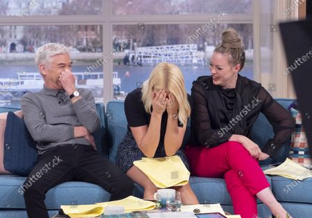 Phillip Schofield and Holly Willoughby with Sharon Marshall