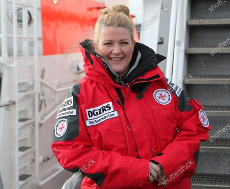 Stock Picture of The new ambassador of German Maritime Search and Rescue Service (GDzRS), Radio presenter Anke Harnack, in Cuxhaven, northern Germany, 14 January 2020. According to reports, German sea rescuers saved more than 350 lives at sea during 2,140 operations in 2019. Since its foundation in 1865, more than 85,000 lives were saved by the DGzRS in the German Bight and on the Baltic Sea.