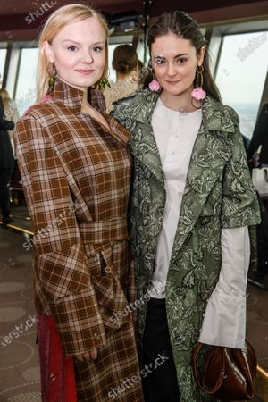 German actresses Maria Dragus (L) and Lea van Acken pose prior to Hong Kong's berlin based designer William Fan (not in the picture) show during the Berlin Fashion Week in Berlin, Germany, 14 January 2020. During Berlin Fashion Week, from 13 to 17 January 2020, various events, fairs and shows, like MBFW (formerly known as Mercedes Benz Fashion Week) at Kraftwerk Berlin, Panorama, Selvedge Run and Neonyt fairs at (former) Tempelhof Airport, Premium fair at Station Berlin and a variety of designer shows, take place all over the city.