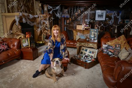 Yvette Fielding with her bulldog Watson - 'My Haven' the Living Room of her Haunted Cheshire Farmhouse