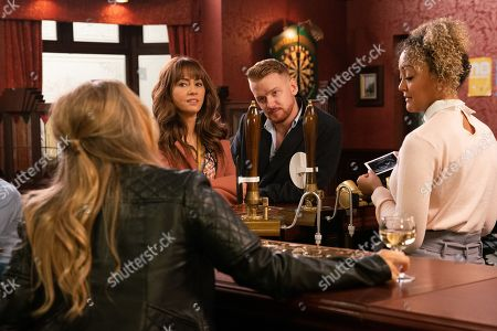 Coronation Street - Ep 9987 Wednesday 22nd January 2020 - 2nd Ep As Maria Connor, as played by Samia Longchambon, and Gary Windass, as played by Mikey North, proudly show off their scan photo, Sarah Platt, as played by Tina O'Brien, and Adam make snide remarks.