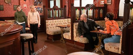 Coronation Street - Ep 9994 Friday 31st January 2020 - 1st Ep Charlie, as played by Sian Reeves, summons Tim Metcalfe, as played by Joe Duttine, to the Rovers and admits she hasn't signed the divorce papers as she reckons they should make a go of their marriage, Sally Metcalfe, as played by Sally Dynevor, is horrified to realise everyone knows Tim's a bigamist.