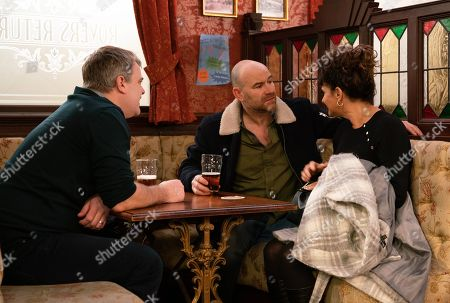 Coronation Street - Ep 9993 Wednesday 29th January 2020 - 2nd Ep Charlie, as played by Sian Reeves, tells Tim Metcalfe, as played by Joe Duttine, that the job at Gatwick is more or less in the bag. When Tim enquires about the divorce papers, Charlie's evasive, making out it's going to take a few more days. With Steve McDonald, as played by Simon Gregson.