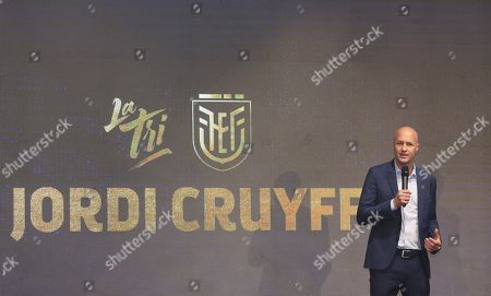 Jordi Cruyff speaks at an event where he is introduced as the new coach of Ecuador's national soccer team in Quito, Ecuador, . Cruyff is the Dutch son of the legendary soccer player Johan Cruyff
