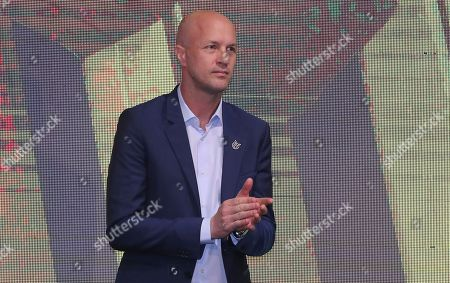 Stock Photo of Jordi Cruyff attends an event where he is introduced as the new coach of Ecuador's national soccer team in Quito, Ecuador, . Cruyff is the Dutch son of the legendary soccer player Johan Cruyff