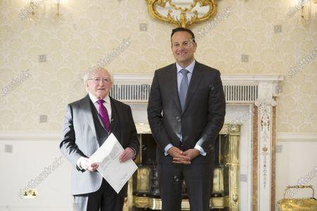 Irish Taoiseach Leo Varadkar (R) with Irish President Michael D Higgins (L) after requesting dissolving the Irish Parliament in Dublin, Ireland,  14 January 2020. The general election in Ireland will be held on 08 February 2020.