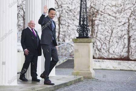 Irish Taoiseach Leo Varadkar (R) leaves president's recidency after asking Irish President Michael D Higgins (L) to dissolve the Irish Parliament in Dublin, Ireland,  14 January 2020. The general election in Ireland will be held on 08 February 2020.