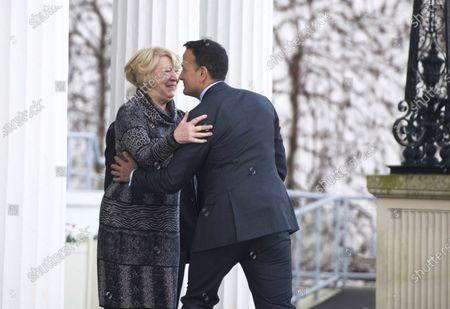 Irish first lady Sabina Higgins (L) says goodbye to Irish Taoiseach Leo Varadkar (R) as he leaves after asking Irish President to dissolve the Irish Parliament  in Dublin, Ireland, 14 January 2020. The general election in Ireland will be held on 08 February 2020.