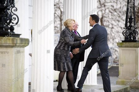 Irish President Michael D Higgins (C) and his wife Sabina Higgins (L) say goodbye to Irish Taoiseach Leo Varadkar (R) as he leaves after asking Irish President to dissolve the Irish Parliament  in Dublin, Ireland, 14 January 2020. The general election in Ireland will be held on 08 February 2020.