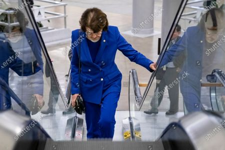Senator Dianne Feinstein rides the escalator in the basement of the US Capitol Building in Washington, DC, USA, 14 January 2020. It is expected that the Speaker of the House Nancy Pelosi will send the Articles of Impeachment over to the Senate for the trial later this week.