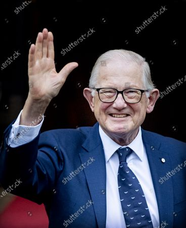 Prince Pieter Van Vollenhoven waves as he arrives for the traditional New Year's reception for guests by the King and Queen at the Royal Palace in Amsterdam