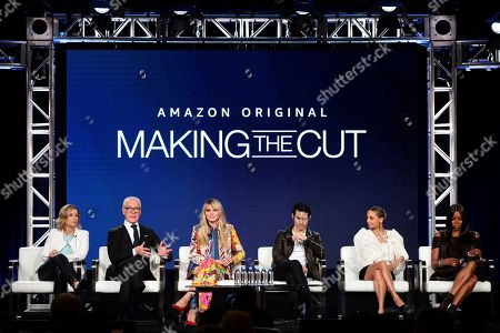 "Sara Rea, Tim Gunn, Heidi Klum, Joseph Altuzarra, Nicole Richie, Naomi Campbell. Sara Rea, from left, Tim Gunn, Heidi Klum, Joseph Altuzarra, Nicole Richie and Naomi Campbell appear at the ""Making the Cut"" panel during the Amazon TCA 2020 Winter Press Tour at the Langham Huntington, in Pasadena, Calif"