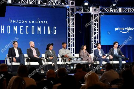 "Sam Esmail, Kyle Patrick Alvarez, Janelle Monae, Stephan James, Hong Chau, Eli Horowitz, Micah Bloomberg. Sam Esmail, from left, Kyle Patrick Alvarez, Janelle Monae, Stephan James, Hong Chau, Eli Horowitz and Micah Bloomberg speak at the ""Homecoming"" panel during the Amazon TCA 2020 Winter Press Tour at the Langham Huntington, in Pasadena, Calif"