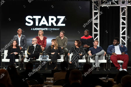 "Rachel Morrison, Amaury Nolasco, Gary Lennon, Shane Harper, Rebecca Perry Cutter, Riley Voelkel, Monica Raymund, Dohn Norwood, James Badge Dale, Atkins Estimond. Rachel Morrison, from left, Amaury Nolasco, Gary Lennon, Shane Harper, Rebecca Perry Cutter, Riley Voelkel, Monica Raymund, Dohn Norwood, James Badge Dale and Atkins Estimond speak at the ""High Town"" panel during the Starz TCA 2020 Winter Press Tour at the Langham Huntington, in Pasadena, Calif"