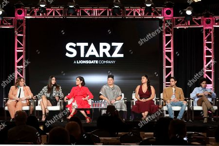 "Tanya Saracho, Melissa Barrera, Mishel Prada, Ser Anzoategui, Chelsea Rendon, Carlos Miranda, Roberta Colindrez. Tanya Saracho, from left, Melissa Barrera, Mishel Prada, Ser Anzoategui, Chelsea Rendon, Carlos Miranda and Roberta Colindrez speak at the ""Vida"" panel during the Starz TCA 2020 Winter Press Tour at the Langham Huntington, in Pasadena, Calif"