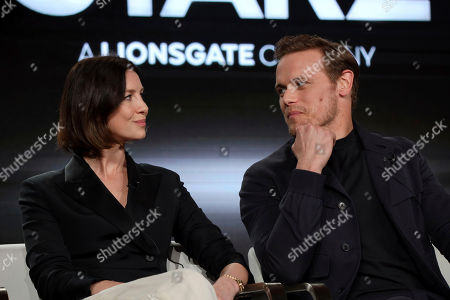 """Caitriona Balfe, Sam Heughan. Caitriona Balfe, left, and Sam Heughan look at each other as they speak at the """"Outlander"""" panel during the Starz TCA 2020 Winter Press Tour at the Langham Huntington, in Pasadena, Calif"""