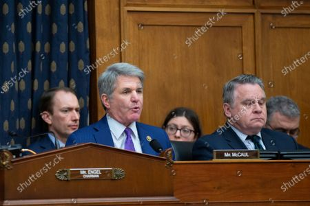 United States Representative Michael McCaul (Republican of Texas) speaks to Richard Haass Ph.D., President of the Council on Foreign Relations, Avril Haines, Former Deputy National Security Advisor and Former Deputy Director of the Central Intelligence Agency, and Stephen J. Hadley, Former National Security Advisor, as they testify before the US House Committee on Foreign Relations at the United States Capitol in Washington DC, following a US, drone strike that killed Iranian military leader Qasem Soleimani. United States Secretary of State Mike Pompeo, who was supposed to be the key witness appearing before the committee, declined to testify due to travel.