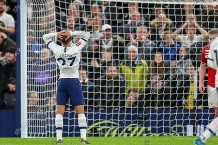 Tottenham Hotspur midfielder Lucas Moura (27) comes close during the The FA Cup third round replay match between Tottenham Hotspur and Middlesbrough at Tottenham Hotspur Stadium, London