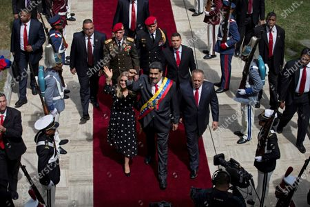 Venezuela President Nicolas Maduro (c), together with the head of the National Constituent Assembly (ANC), Diosdado Cabello (R), and the first lady, Cilia Flores (L), arrives to give his Annual Message of Memory and Account at the Federal Legislative Palace, in Caracas, Venezuela, 14 January 2020. Maduro asked the National Electoral Council (CNE) to invite the European Union (EU) and the United Nations (UN) to observe the legislative elections planned for 2020, but not to the Organization of American States (OAS).