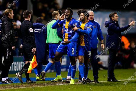 Aaron Pierre of Shrewsbury Town celebrates scoring a goal to make it 1-0