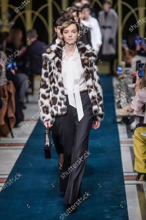 Canadian model Heather Marks (front) presents a creation of German brand Marc Cain during the Berlin Fashion Week, in Berlin, Germany, 14 January 2020. The Berlin Fashion Week presents creations of the Fall/Winter 2020 collections and runs from 13 to 17 January.