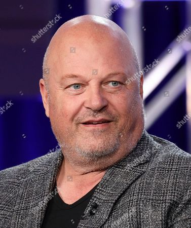 """Michael Chiklis speaks at the """"Coyote"""" panel during the Paramount Network TCA 2020 Winter Press Tour at the Langham Huntington, in Pasadena, Calif"""