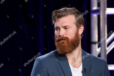 """Derek Theler speaks at the """"68 Whiskey"""" panel during the Paramount Network TCA 2020 Winter Press Tour at the Langham Huntington, in Pasadena, Calif"""