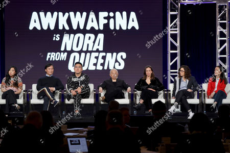 "Awkwafina, BD Wong, Bowen Yang, Lori Tan Chinn, Lucia Aniello, Karey Dornetto, Teresa Hsiao. Awkwafina, from left, BD Wong, Bowen Yang, Lori Tan Chinn, Lucia Aniello, Karey Dornetto and Teresa Hsiao speak at the ""Akwafina is Nora from Queens"" panel during the Comedy Central TCA 2020 Winter Press Tour at the Langham Huntington, in Pasadena, Calif"