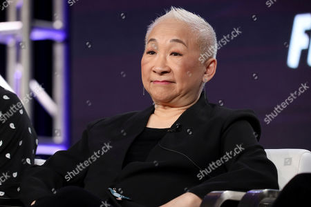 """Lori Tan Chinn speaks at the """"Akwafina is Nora from Queens"""" panel during the Comedy Central TCA 2020 Winter Press Tour at the Langham Huntington, in Pasadena, Calif"""