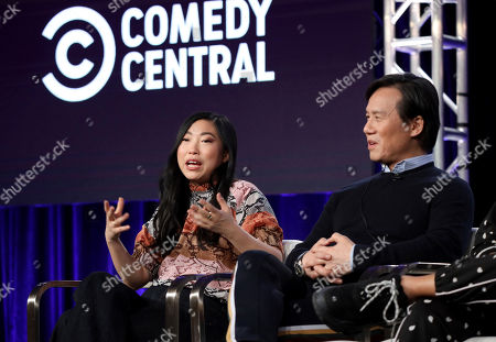 """Akwafina, BD Wong. Akwafina, left, and BD Wong speak at the """"Akwafina is Nora from Queens"""" panel during the Comedy Central TCA 2020 Winter Press Tour at the Langham Huntington, in Pasadena, Calif"""
