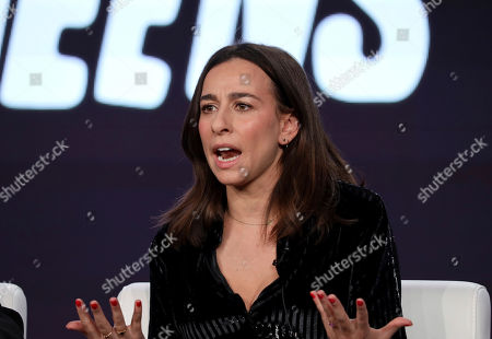 """Lucia Aniello speaks at the """"Akwafina is Nora from Queens"""" panel during the Comedy Central TCA 2020 Winter Press Tour at the Langham Huntington, in Pasadena, Calif"""