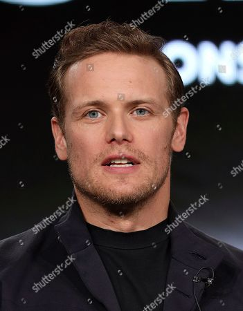 """Sam Heughan speaks at the """"Outlander"""" panel during the Starz TCA 2020 Winter Press Tour at the Langham Huntington, in Pasadena, Calif"""