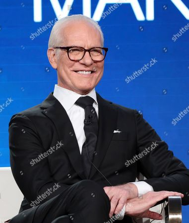 """Tim Gunn speaks at the """"Making the Cut"""" panel during the Amazon TCA 2020 Winter Press Tour at the Langham Huntington, in Pasadena, Calif"""