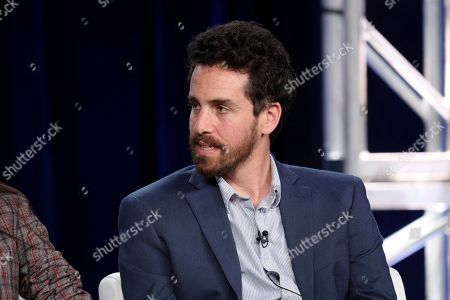"""Sam Esmail speaks at the """"Homecoming"""" panel during the Amazon TCA 2020 Winter Press Tour at the Langham Huntington, in Pasadena, Calif"""
