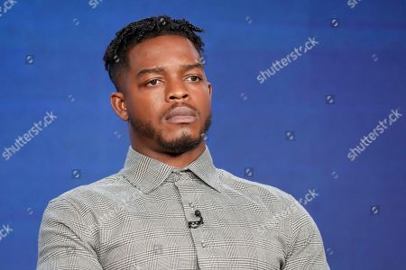 """Stephan James speaks at the """"Homecoming"""" panel during the Amazon TCA 2020 Winter Press Tour at the Langham Huntington, in Pasadena, Calif"""