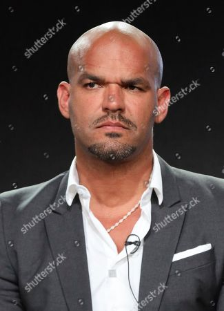 "Amaury Nolasco speaks at the ""High Town"" panel during the Starz TCA 2020 Winter Press Tour at the Langham Huntington, in Pasadena, Calif"