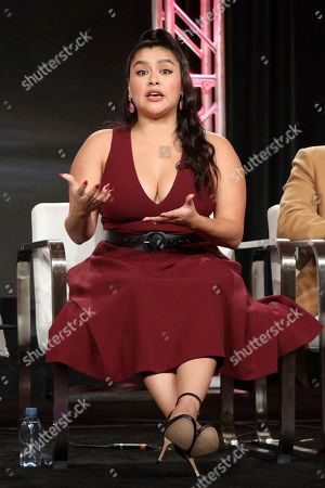 "Chelsea Rendon speaks at the ""Vida"" panel during the Starz TCA 2020 Winter Press Tour at the Langham Huntington, in Pasadena, Calif"
