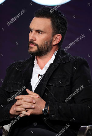 """Stock Photo of Juan Pablo Raba speaks at the """"Coyote"""" panel during the Paramount Network TCA 2020 Winter Press Tour at the Langham Huntington, in Pasadena, Calif"""