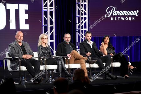 "Michael Chiklis, Michelle MacLaren, David Graziano, Juan Pablo Raba, Adriana Paz. Michael Chiklis, from left, Michelle MacLaren, David Graziano, Juan Pablo Raba and Adriana Paz speak at the ""Coyote"" panel during the Paramount Network TCA 2020 Winter Press Tour at the Langham Huntington, in Pasadena, Calif"