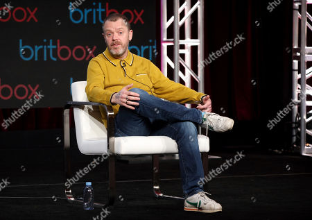 "Paul Williams speaks at the ""A Confession"" panel during the Britbox TCA 2020 Winter Press Tour at the Langham Huntington, in Pasadena, Calif"