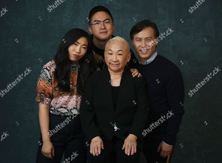 "Stock Photo of Awkwafina, Bowen Yang, Lori Tan Chinn, BD Wong. Awkwafina, left, poses with fellow cast members, from second left, Bowen Yang, Lori Tan Chinn and BD Wong to promote their show "" Awkwafina is Nora from Queens"" during the 2020 Winter Television Critics Association Press Tour, in Pasadena, Calif"