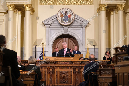 New Jersey Gov. Phil Murphy, center, speaks at the State of the State address in Trenton, N.J., . Murphy, a Democrat, delivered his second State of the State speech Tuesday before a joint session of the Democrat-led Legislature, sketching his agenda for the year