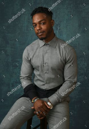 """Stephan James, a cast member in the Amazon Studios series """"Homecoming,"""" poses for a portrait during the 2020 Winter Television Critics Association Press Tour, in Pasadena, Calif"""