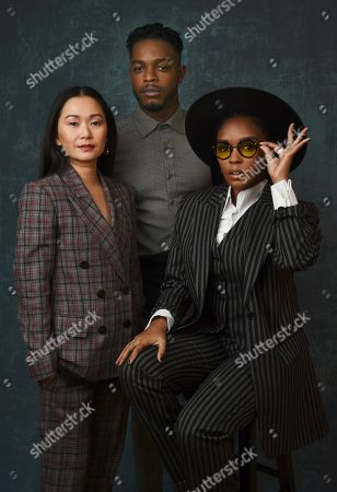 "Janelle Monae, Hong Chau, Stephan James. From left, Hong Chau, Stephan James and Janelle Monae, cast members in the Amazon Studios series ""Homecoming,"" pose for a portrait during the 2020 Winter Television Critics Association Press Tour, in Pasadena, Calif"