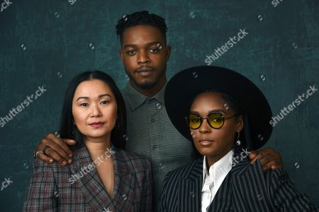 "Hong Chau, Stephan James, Janelle Monae. Hong Chau, from left, Stephan James and Janelle Monae, cast members in the Amazon Studios series ""Homecoming,"" pose together for a portrait during the 2020 Winter Television Critics Association Press Tour, in Pasadena, Calif"