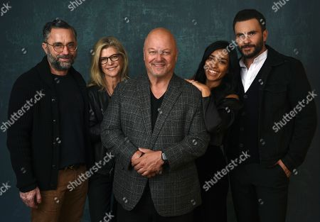 "Stock Photo of Michael Chiklis, Michelle MacLaren, David Graziano, Adriana Paz, Juan Pablo Raba. Michael Chiklis, center, the star and executive producer of the Paramount Network series ""Coyote,"" poses with, from left, showrunner David Graziano, executive producer/director Michelle MacLaren and cast members Adriana Paz and Juan Pablo Raba during the 2020 Winter Television Critics Association Press Tour, in Pasadena, Calif"