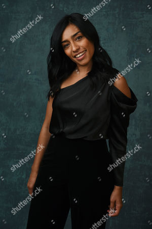 "Adriana Paz, a cast member in the Paramount Network series ""Coyote,"" poses for a portrait during the 2020 Winter Television Critics Association Press Tour, in Pasadena, Calif"