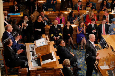 New Jersey Gov. Phil Murphy, right, speaks at the State of the State address in Trenton, N.J., . Murphy, a Democrat, delivered his second State of the State speech Tuesday before a joint session of the Democrat-led Legislature, sketching his agenda for the year